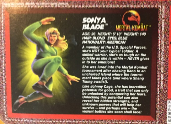 1995 mortal kombat movie edition sonya blade